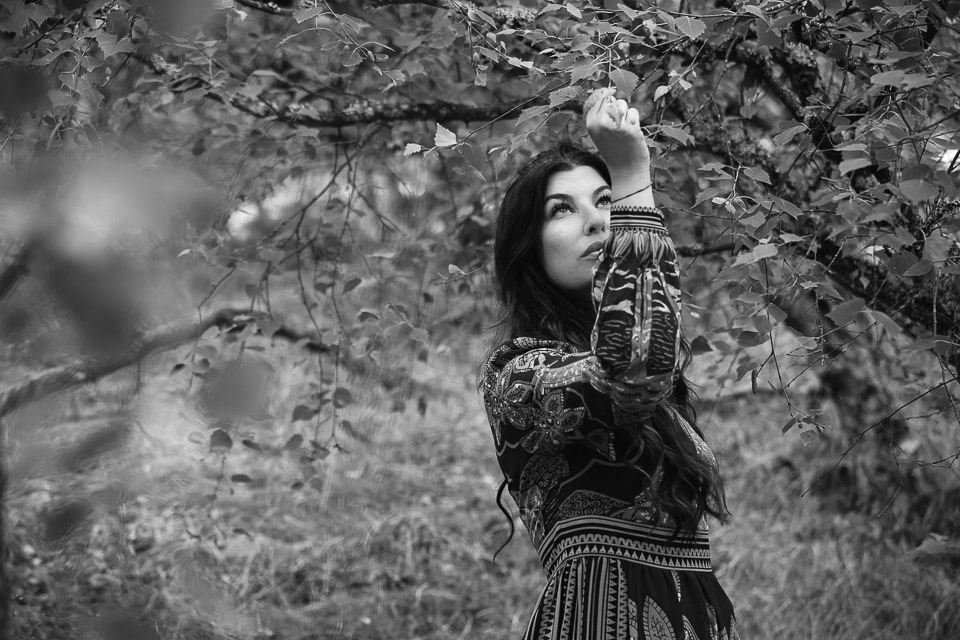 woman-in-forest-bw