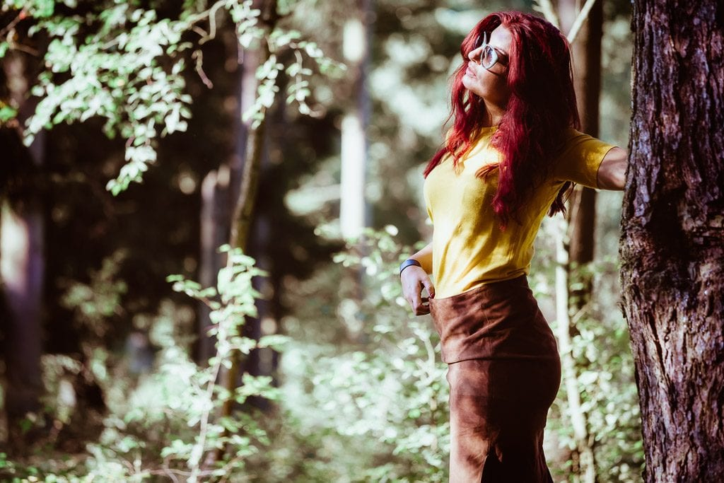female-red hair-in-forest